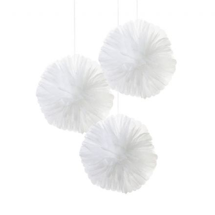 White Tulle Pom Pom Decorations - pack of 3